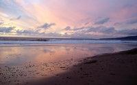 Sunset reflecting in the wet sandy beach wallpaper 1920x1200 jpg