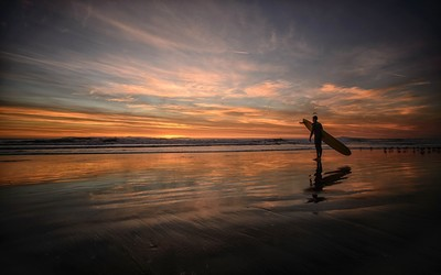 Surfing at sunset wallpaper