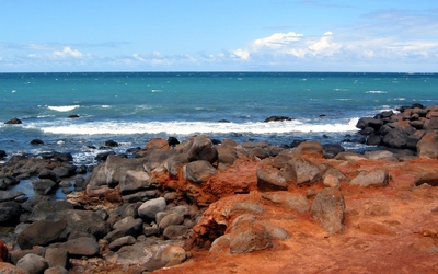 Volcanic rocky coast at the ocean Wallpaper