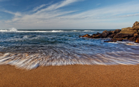 Wave trail on the sandy beach wallpaper 1920x1080 jpg
