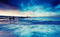 Waves hitting the pier wallpaper 1920x1200 jpg