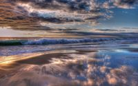 Waves reaching to the sandy beach wallpaper 2560x1600 jpg