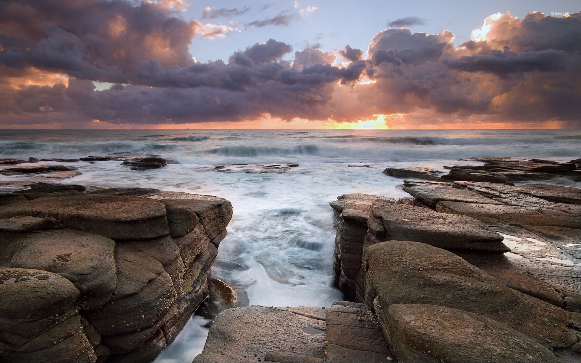 waves rushing to the rocky shore wallpaper - beach wallpapers - #53807