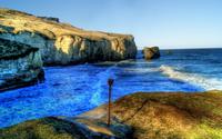 Waves splashing in the rocky coast wallpaper 1920x1080 jpg