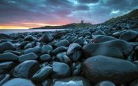 Wet stones on the coast at sunset wallpaper 2560x1600 jpg