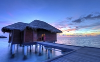 Wooden pier to the bungalows wallpaper 1920x1200 jpg