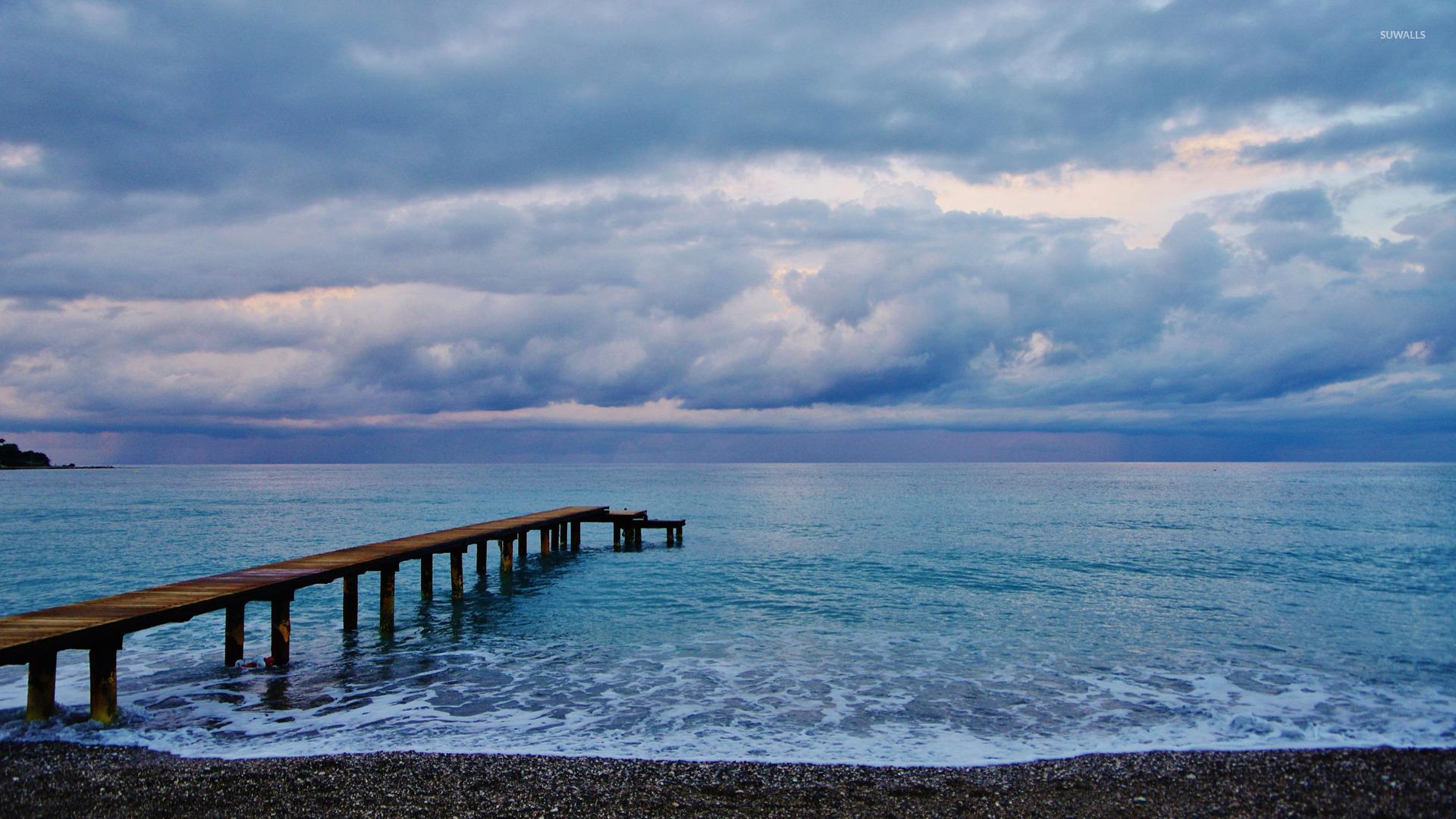 wooden pier to the ocean wallpaper - beach wallpapers