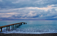 Wooden pier to the ocean wallpaper 3840x2160 jpg