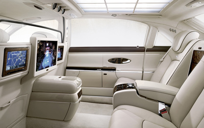 2011 Maybach 57 white leather interior wallpaper