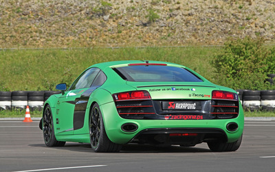 2012 Green Racing One Audi R8 back view wallpaper