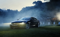 2012 Jaguar XJ near a foggy forest wallpaper 1920x1200 jpg