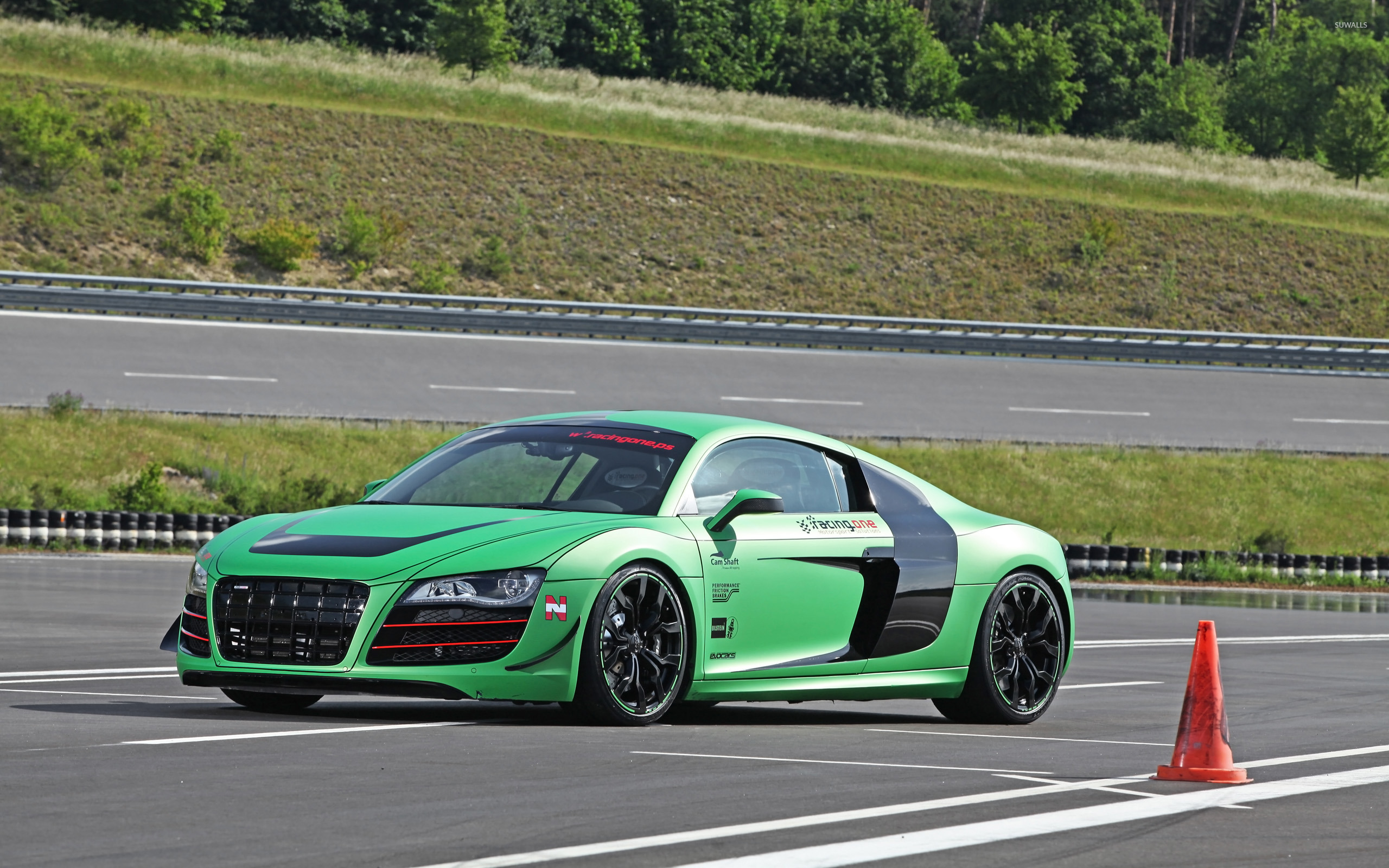 2012 Racing One Audi R8 On A Racing Track Side View Wallpaper Car