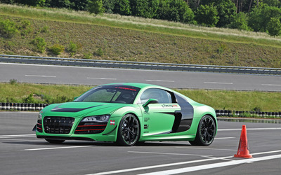 2012 Racing One Audi R8 on a racing track side view wallpaper