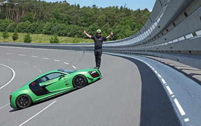 2012 Racing One Audi R8 with a pilot on top wallpaper