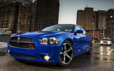 2013 Blue Dodge Charger in the city wallpaper