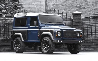 2013 Blue Land Rover Defender front side view wallpaper