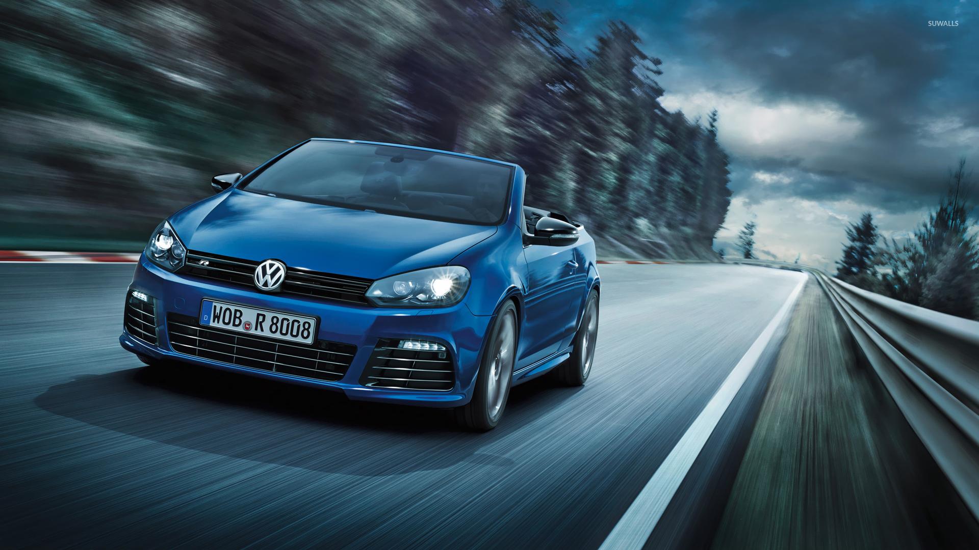 2013 Blue Volkswagen Golf R Cabriolet Wallpaper