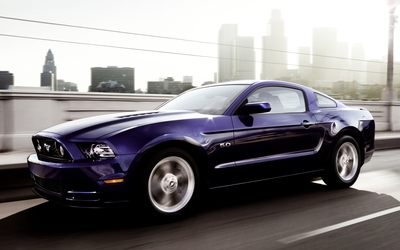 2013 Purple Ford Mustang GT side view wallpaper