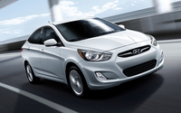 2013 Silver Hyundai Accent front side view wallpaper 1920x1200 jpg