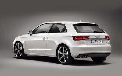 2013 White Audi A3 Hatchback back side view wallpaper
