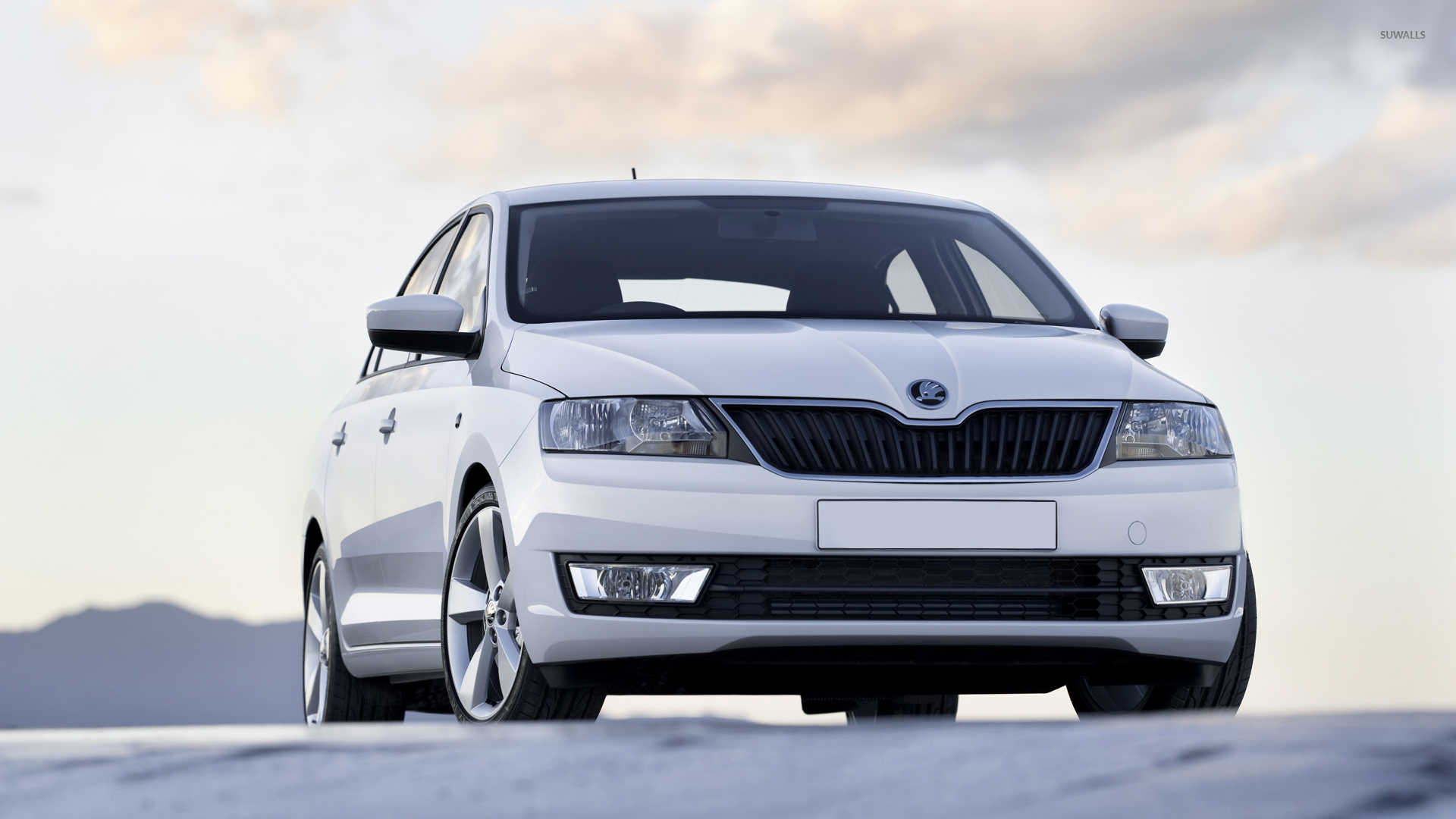 2013 White Skoda Rapid Front View Wallpaper Car Wallpapers