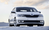 2013 White Skoda Rapid front view wallpaper 1920x1080 jpg