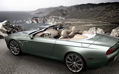 2013 Zagato Aston Martin DBS Spyder on the ocean side wallpaper