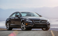 2014 Black Mercedes-Benz CLS-Class on the road wallpaper 1920x1200 jpg