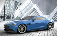 2014 Blue Aston Martin Vanquish side view wallpaper 1920x1080 jpg