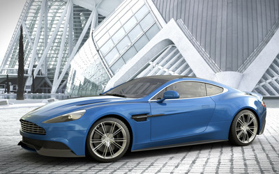 2014 Blue Aston Martin Vanquish side view wallpaper