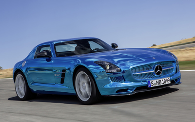 2014 Blue Mercedes-Benz SLS AMG Electric Drive wallpaper