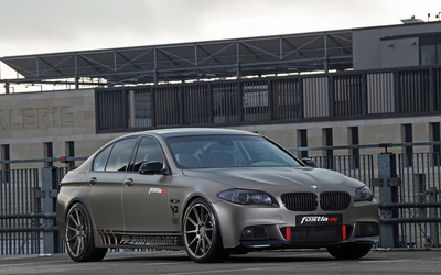 2014 Silver Fostla BMW 550i front side view wallpaper