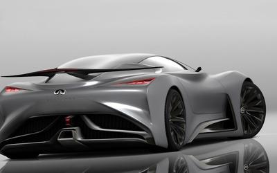 2014 Silver Infiniti Vision Gran Turismo concept back view wallpaper