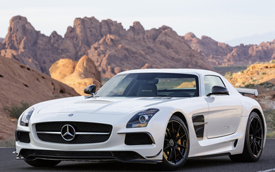 2014 White Mercedes-Benz SLS AMG front side view wallpaper