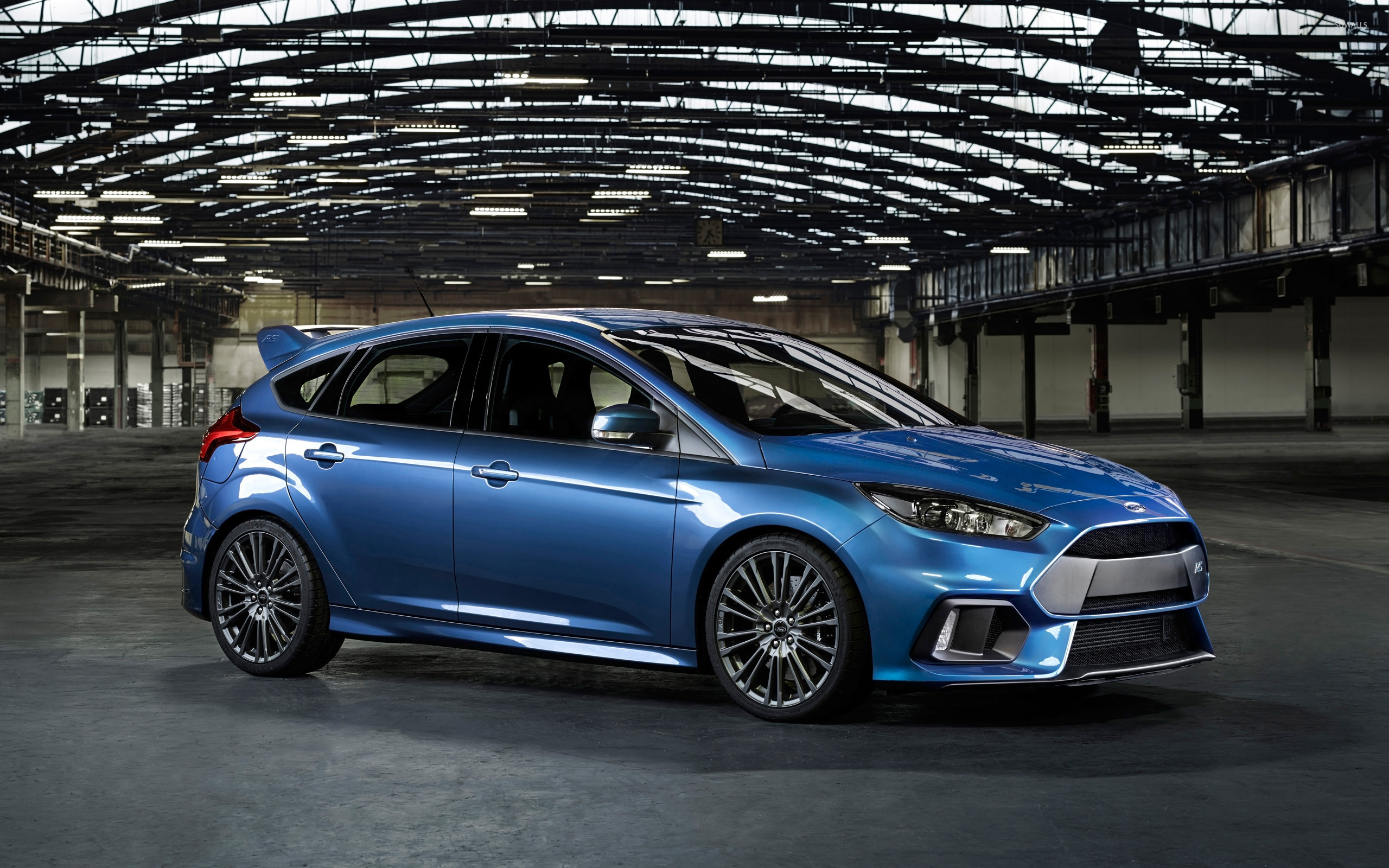 2015 Blue Ford Focus Rs In A Warehouse Wallpaper Car