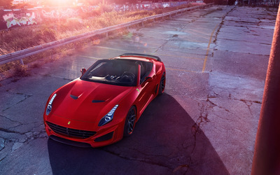 2015 Red Novitec Rosso Ferrari California convertible top view a wallpaper