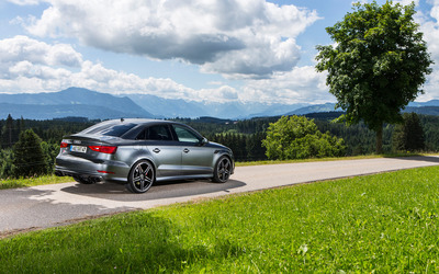2015 Silver ABT Audi S3 back side view wallpaper