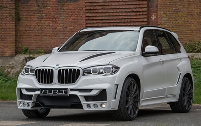 2015 White ART BMW X5 front side view Wallpaper
