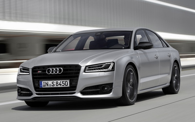 2016 Audi S8 front side view on the road wallpaper