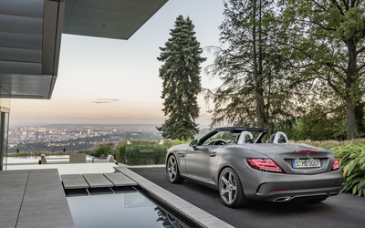 2016 Mercedes-Benz SLC 300 by the pool wallpaper