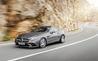 2016 Mercedes-Benz SLC 300 on a mountain road wallpaper