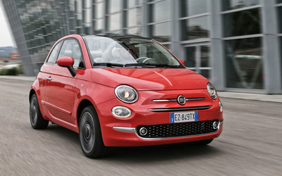 2016 Red Fiat 500 on the road front side view wallpaper