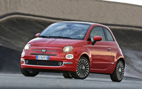 2016 Red Fiat 500 parked front side view wallpaper 2560x1600 jpg