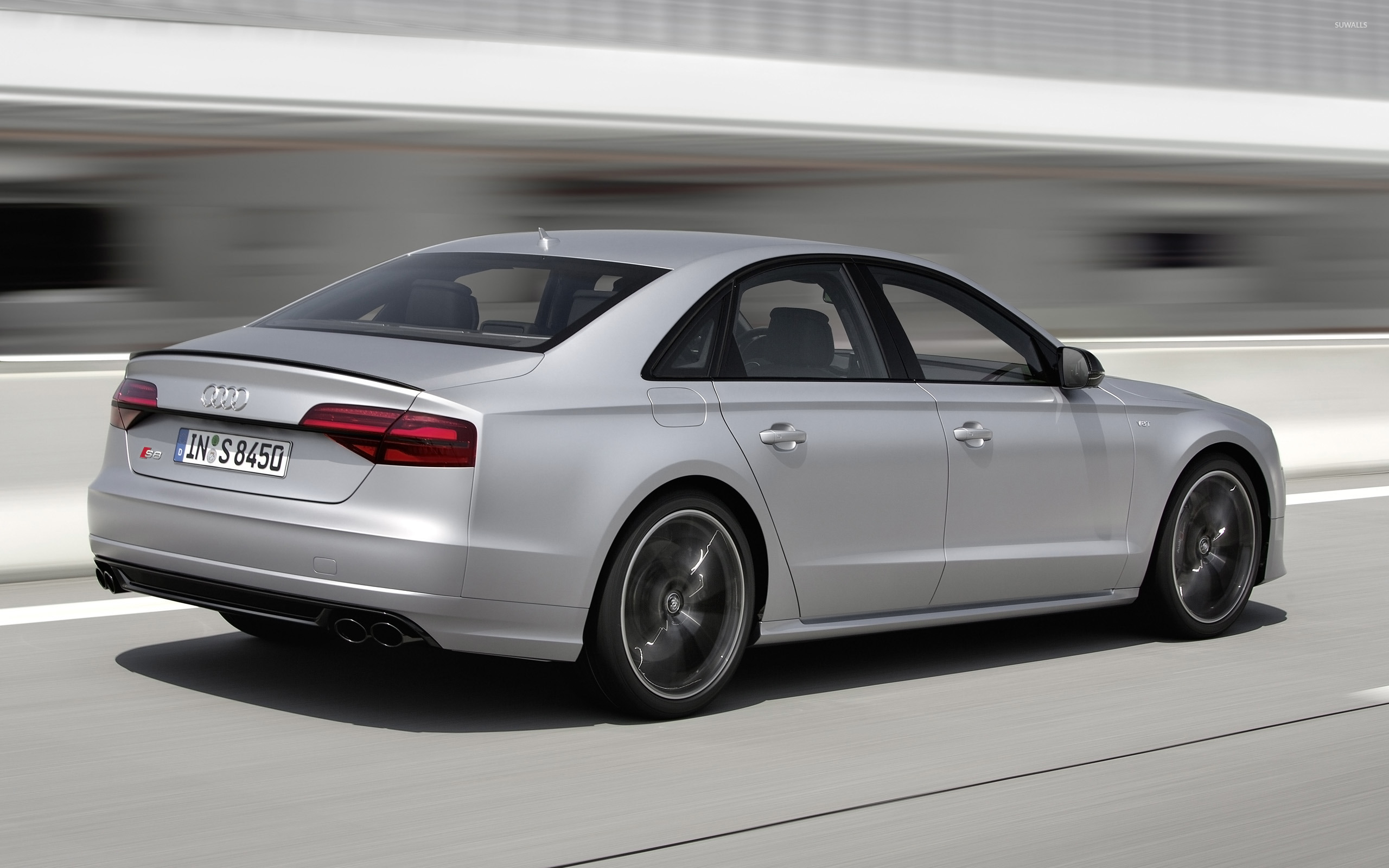 2016 Silver Audi S8 Back Side View [2] Wallpaper