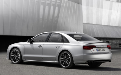 2016 Silver Audi S8 back side view wallpaper