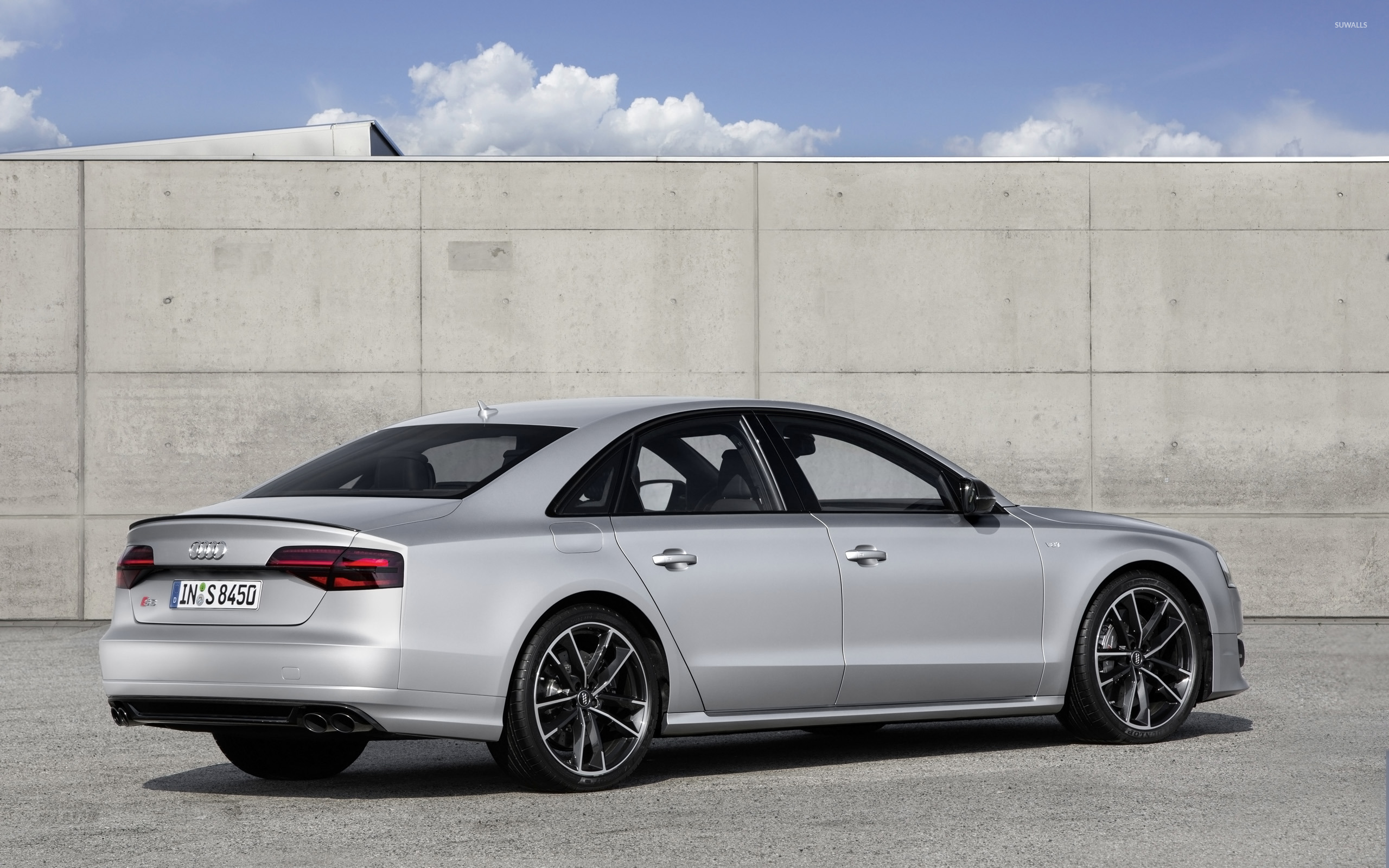 2016 Silver Audi S8 Parked Wallpaper