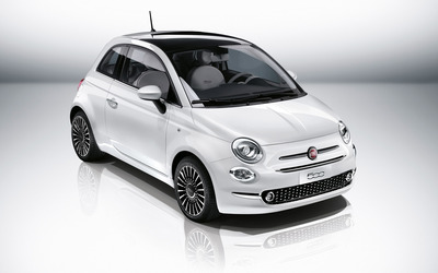 2016 White Fiat 500 front side view from top wallpaper