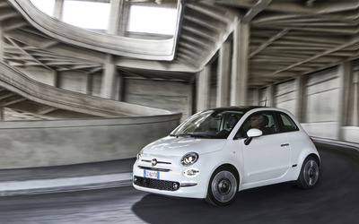 2016 White Fiat 500 in a parking wallpaper