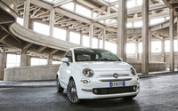 2016 White Fiat 500 in a parking lot wallpaper 2560x1600 jpg