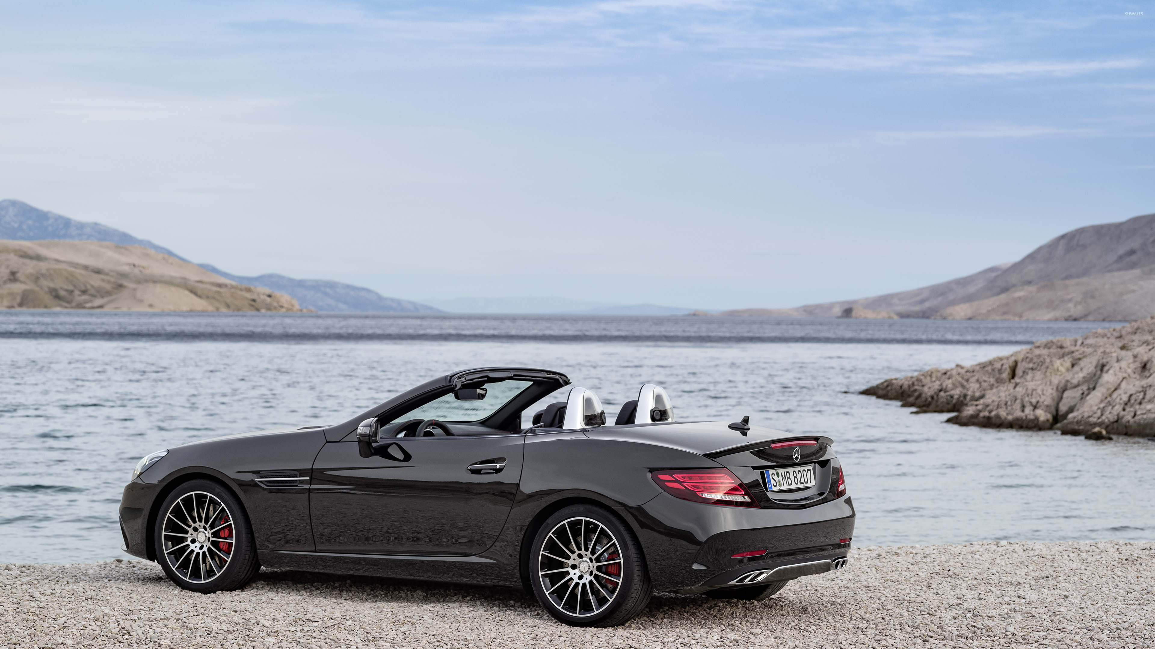 2017 mercedes amg slc 43 back side view wallpaper car